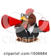 3d Chubby Brown Business Chicken Holding A Shopping Bag On A White Background