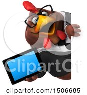 3d Chubby Brown Business Chicken Holding A Tablet On A White Background