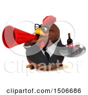 Clipart Of A 3d Chubby Brown Business Chicken Holding A Wine Tray On A White Background Royalty Free Illustration