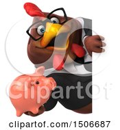 3d Chubby Brown Business Chicken Holding A Piggy Bank On A White Background