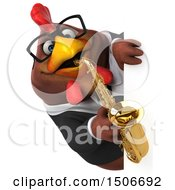 Poster, Art Print Of 3d Chubby Brown Business Chicken Holding A Saxophone On A White Background