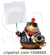3d Chubby Brown Business Chicken Holding A Saxophone On A White Background