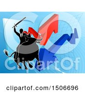 Silhouetted Business Man Wielding A Sword And Riding A Stock Market Bull Against A Graph With Arrows