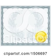 Vintage Certificate Design With A Gold Badge And Laurel Wreath Faded In The Center