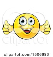 Poster, Art Print Of Cartoon Happy Yellow Emoticon Holding Two Thumbs Up