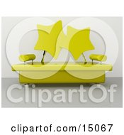 Modern Living Room Or Office Lobby Interior With A Yellow Sofa With Star Shaped Back Rests And Chrome Poles