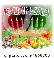 Clipart Of Kwanzaa Text With Vegetables And Candles Royalty Free Vector Illustration by AtStockIllustration