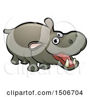 Clipart Of A Cartoon Happy Hippopotamus Royalty Free Vector Illustration by AtStockIllustration