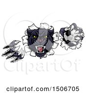 Clipart Of A Black Panther Mascot Shredding Through A Wall With A Soccer Ball Royalty Free Vector Illustration by AtStockIllustration