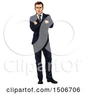 Caucasian Businessman Standing With Folded Arms