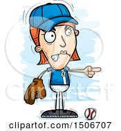Clipart Of A Mad Pointing White Female Baseball Player Royalty Free Vector Illustration