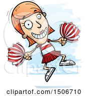 Clipart Of A Jumping White Female Cheerleader Royalty Free Vector Illustration