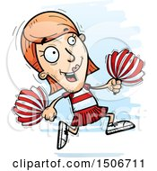 Clipart Of A Running White Female Cheerleader Royalty Free Vector Illustration