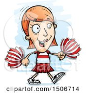 Clipart Of A Walking White Female Cheerleader Royalty Free Vector Illustration