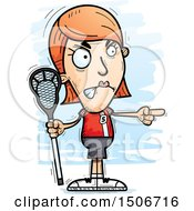 Clipart Of A Mad Pointing White Female Lacrosse Player Royalty Free Vector Illustration