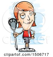 Clipart Of A Confident White Female Lacrosse Player Royalty Free Vector Illustration
