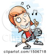 Clipart Of A Happy Dancing White Female Lacrosse Player Royalty Free Vector Illustration