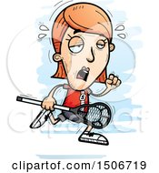 Clipart Of A Tired White Female Lacrosse Player Royalty Free Vector Illustration