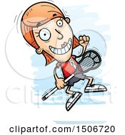 Clipart Of A Jumping White Female Lacrosse Player Royalty Free Vector Illustration