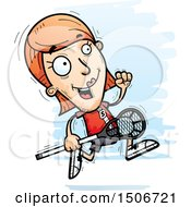 Clipart Of A Running White Female Lacrosse Player Royalty Free Vector Illustration