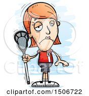 Clipart Of A Sad White Female Lacrosse Player Royalty Free Vector Illustration
