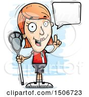 Clipart Of A Talking White Female Lacrosse Player Royalty Free Vector Illustration