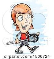 Clipart Of A Walking White Female Lacrosse Player Royalty Free Vector Illustration