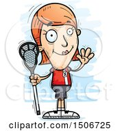 Clipart Of A Waving White Female Lacrosse Player Royalty Free Vector Illustration