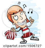 Clipart Of A Happy Dancing White Female Cheerleader Royalty Free Vector Illustration by Cory Thoman