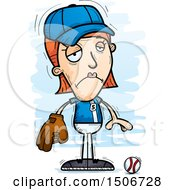 Clipart Of A Sad White Female Baseball Player Royalty Free Vector Illustration