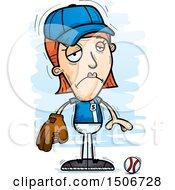 Poster, Art Print Of Sad White Female Baseball Player