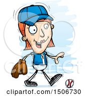Clipart Of A Walking White Female Baseball Player Royalty Free Vector Illustration