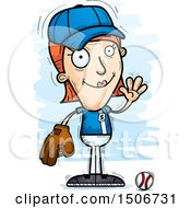 Clipart Of A Waving White Female Baseball Player Royalty Free Vector Illustration
