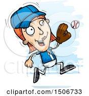 Poster, Art Print Of Running White Female Baseball Player