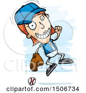 Clipart Of A Jumping White Female Baseball Player Royalty Free Vector Illustration