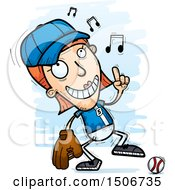 Clipart Of A Happy Dancing White Female Baseball Player Royalty Free Vector Illustration