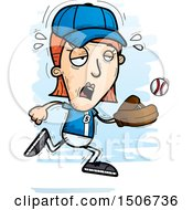 Clipart Of A Tired White Female Baseball Player Royalty Free Vector Illustration