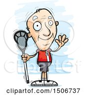 Waving Senior White Male Lacrosse Player