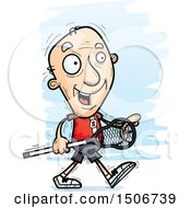 Clipart Of A Walking Senior White Male Lacrosse Player Royalty Free Vector Illustration by Cory Thoman
