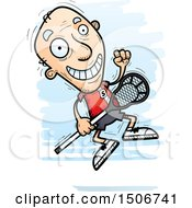 Clipart Of A Jumping Senior White Male Lacrosse Player Royalty Free Vector Illustration by Cory Thoman