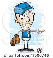 Clipart Of A Mad Pointing Senior White Male Baseball Player Royalty Free Vector Illustration by Cory Thoman