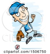 Clipart Of A Jumping Senior White Male Baseball Player Royalty Free Vector Illustration by Cory Thoman