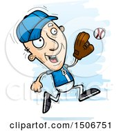 Poster, Art Print Of Running Senior White Male Baseball Player