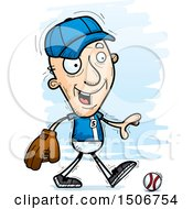 Clipart Of A Walking Senior White Male Baseball Player Royalty Free Vector Illustration by Cory Thoman