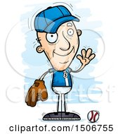 Clipart Of A Waving Senior White Male Baseball Player Royalty Free Vector Illustration by Cory Thoman