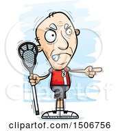 Clipart Of A Mad Pointing Senior White Male Lacrosse Player Royalty Free Vector Illustration by Cory Thoman