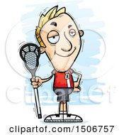 Clipart Of A Confident White Male Lacrosse Player Royalty Free Vector Illustration