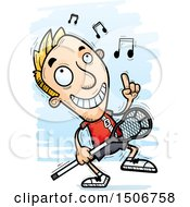 Clipart Of A Happy Dancing White Male Lacrosse Player Royalty Free Vector Illustration