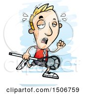 Clipart Of A Tired White Male Lacrosse Player Royalty Free Vector Illustration