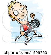 Clipart Of A Jumping White Male Lacrosse Player Royalty Free Vector Illustration